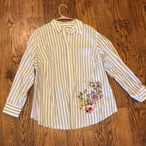 Embroidered Pinstripe Blouse